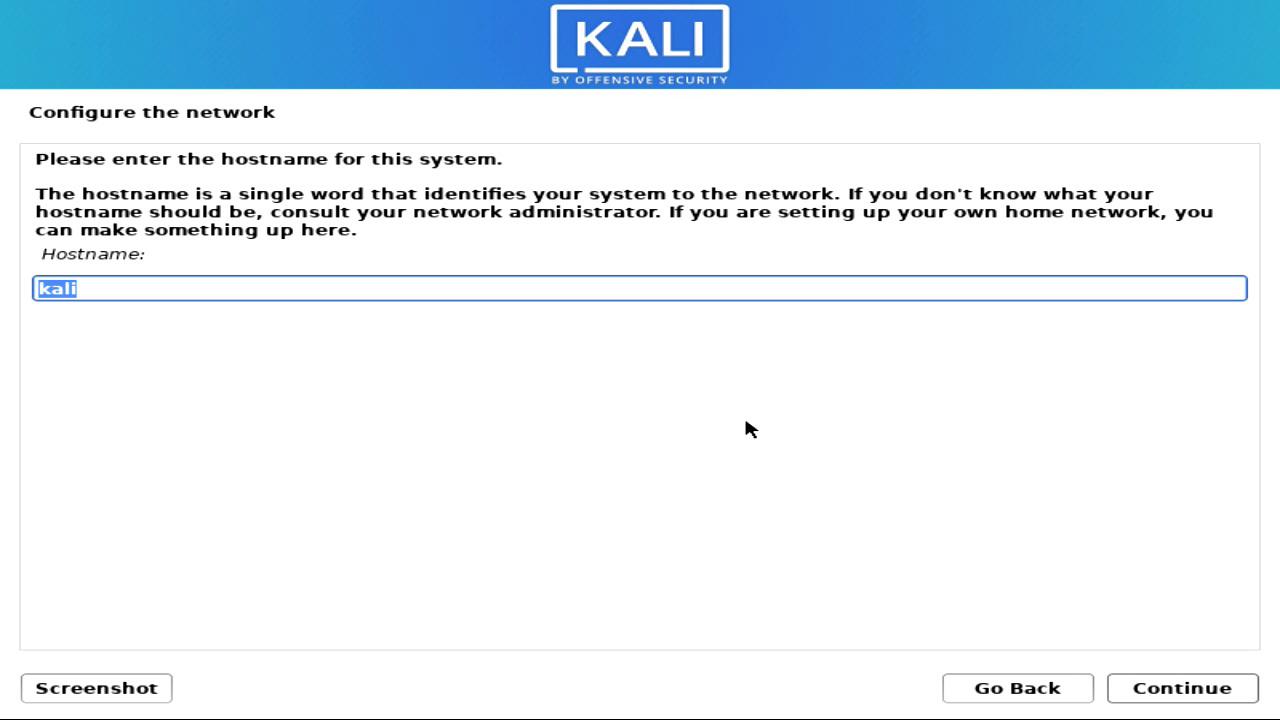 Host Name Kali